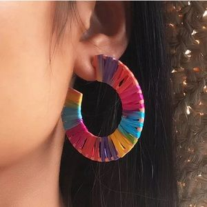 Raffia Rainbow Hoop Earrings